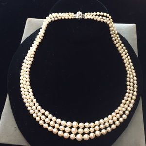 Beauteous 3- strand Akoya Pearl necklace- 14k